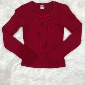 Red Tommy Hilfiger Long-Sleeve Lace-Up Top in Red